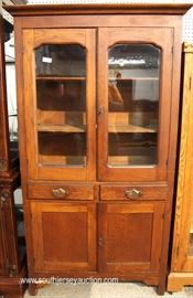 ANTIQUE Mahogany 4 Door 2 Drawer Flat Wall Cupboard  Located Inside – Auction Estimate $200-$400