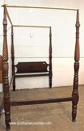 ANTIQUE Solid Mahogany Carved Queen Size 4 Poster Canopy Bed  Located Inside – Auction Estimate $300-$600