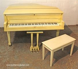 "Mid Century Baby Grand Piano with Bench in original factory paint by ""Stieff""  Located Inside – Auction Estimate $300-$600"