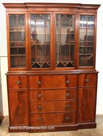 Burl Mahogany 2 Piece 4 Door China Cabinet with Desk  Located Inside – Auction Estimate $200-$400