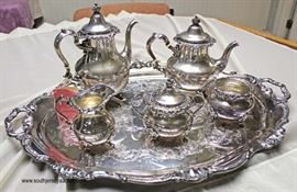 5 Piece Gorham Sterling Tea Set with Silver Plate Serving Tray (6 Piece Total)  Weighs Approximately 81.3 ounces  Located Inside – Auction Estimate $1000-$2000