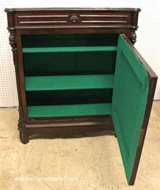 ANTIQUE Walnut Marble Top 1 Drawer 1 Door Side Cabinet with Carved Griffins  Located Inside – Auction Estimate $300-$600