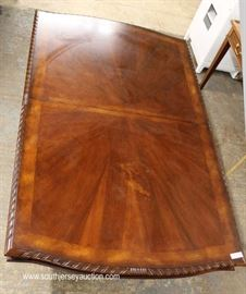 NICE Contemporary 12 Piece Carved Burl and Banded Mahogany Dining Room Set Table with 10 Chairs –  Table has 1 Leaf  Located Inside – Auction Estimate $600-$1200