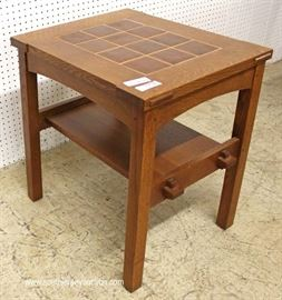 "Mission Oak Tile Top 2 Tier Side Table by ""Stickley Furniture""  Located Inside – Auction Estimate $300-$600"