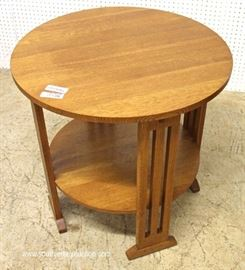 "Mission Oak Round Side Table by ""Stickley Furniture""  Located Inside – Auction Estimate $300-$600"