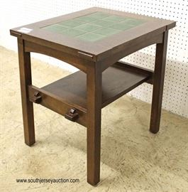 "Mission Oak Green Tile Top 2 Tier Side Table by ""Stickley Furniture""  Located Inside – Auction Estimate $300-$600"