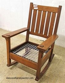 "Mission Oak Rocker by ""Stickley Furniture""  Located Inside – Auction Estimate $200-$400"