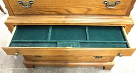 "SOLID Oak High Chest with Jewelry Box Drawer and Low Chest by ""Durham Furniture""  Located Inside – Auction Estimate $300-$600"