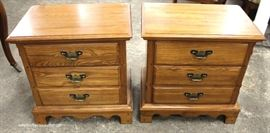 "PAIR of SOLID Oak 3 Drawer Night Stands by ""Durham Furniture""  Located Inside – Auction Estimate $100-$200"