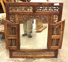 SOLID Mahogany Highly Carved Decorator Mirror with Doors  Located Inside – Auction Estimate $100-$200