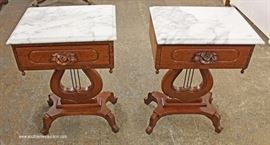 PAIR of SOLID Mahogany Victorian Style Lyre Harp Marble Top Tables  Located Inside – Auction Estimate $100-$200