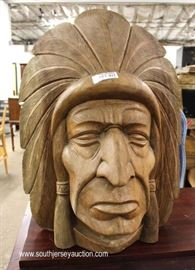 Over-sized Hand Carved SOLID Wood Indian Chief Bust  Located Inside – Auction Estimate $100-$300