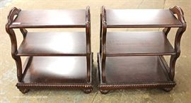 PAIR of 3 Tier SOLID Mahogany Dumb Waiters  Located Inside – Auction Estimate $200-$400