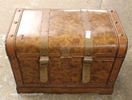 Contemporary Leather Wrap Strapped Decorator Trunk  Located Inside – Auction Estimate $50-$100