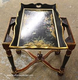 Paint Decorated Serving Table in the Manner of Maitland Smith  Located Inside – Auction Estimate $100-$200