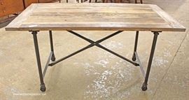 Industrial Style Natural Finish Plank Top Pipe Leg Breakfast Table  Located Inside – Auction Estimate $100-$300