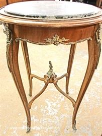 PAIR of ANTIQUE French Style Marble Top Lamp Tables with Applied Bronze  Located Inside – Auction Estimate $200-$400