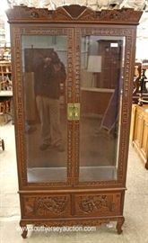 SOLID Mahogany Highly Carved in the Asian Style 2 Door Display Cabinet  Located Inside – Auction Estimate $200-$400