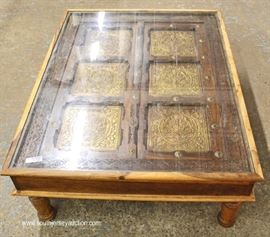 ANTIQUE Asian Half Door Custom Made into Glass Top Coffee Table  Located Inside – Auction Estimate $200-$400