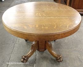 "ANTIQUE Quartersawn Oak 48"" Paw Foot Table with 3 Leaves  Located Inside – Auction Estimate $100-$300"