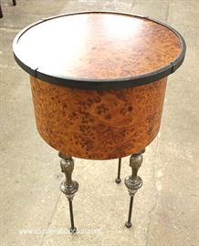 Contemporary Iron Leg Round Burl Walnut Lamp Table  Located Inside – Auction Estimate $100-$200