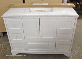 "NEW 48"" Marble Top Bathroom Vanity with Easy Close Drawers and Hardware Inside  Located Inside – Auction Estimate $300-$600"