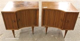 PAIR of Mid Century Modern Danish Walnut Tambour Front Night Stands  Located Inside – Auction Estimate $200-$400