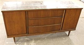 "Mid Century Modern Danish Walnut Credenza with Custom Glass Top by ""Bassett Furniture""  Located Inside – Auction Estimate $200-$400"