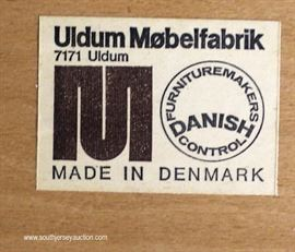 "Set of 4 Mid Century Modern Danish Walnut Kitchen Chairs by ""Uldum Mobelfabrik Made in Denmark""  Located Inside – Auction Estimate $200-$400"