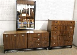 Mid Century Modern Burl Walnut 6 Piece Bedroom Set with Full Size Headboard and  Low Chest has Fitted Interior  Located Inside – Auction Estimate $400-$800