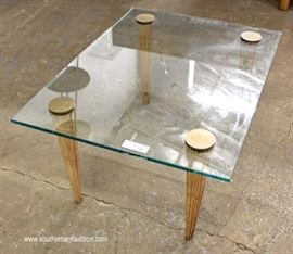 Mid Century Modern Glass Top Coffee Table  Located Inside – Auction Estimate $100-$300
