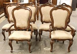 8 Piece Contemporary Carved and Banded Mahogany Dining Room Set – Table has 2 Leaves  Located Inside – Auction Estimate $400-$800