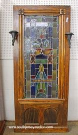 ANTIQUE Leaded Glass Decorated Panel with Sconces  Located Inside – Auction Estimate $200-$400