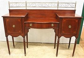 "Mahogany Step Down Buffet with Brass Gallery by ""Palmer House Collection by Lexington Furniture""  Located Inside – Auction Estimate $300-$600"