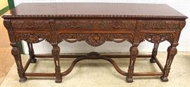 SOLID Walnut Highly Carved and Ornate Depression Buffet – VERY NICE Located Inside – Auction Estimate $400-$800