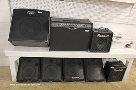 Large Selection of Speakers and Amps including Celestion CR Series, Randall, Line 6 and Peavey  Located Inside – Auction Estimate $50-$200