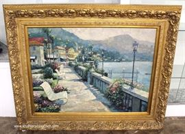 "Signed Oil on Canvas in Nice Carved Frame (approximately 54""w x 43 ½"" H)  Located Inside – Auction Estimate $200-$400"