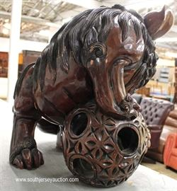 Large Wood Hand Carved Foo Dog  Located Inside – Auction Estimate $100-$300