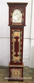 "Paint Decorated Tall Case Clock in the Manner of Aztec by ""Eddy West""  Located Inside – Auction Estimate $200-$400"