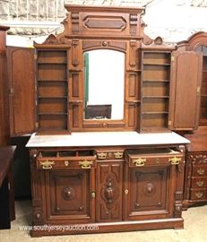 ANTIQUE Walnut Victorian Marble Top High Back Buffet  Located Inside – Auction Estimate $400-$800