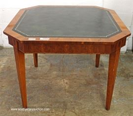 Burl Mahogany Green Leather Top One Drawer Game Table  Located Inside – Auction Estimate $100-$300