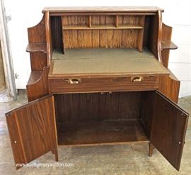 ANTIQUE Oak Drop Front Desk with Fitted Interior and Bookcase Sides  Located Inside – Auction Estimate $100-$300