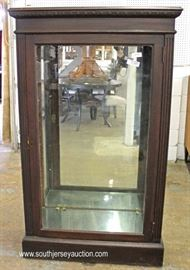 ANTIQUE Oak Mirrored Back Carved Display Cabinet  Located Inside – Auction Estimate $100-$300