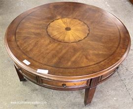 Burl Mahogany with Medallion Inlaid Round Coffee Table with Drawers  Located Inside – Auction Estimate $100-$200