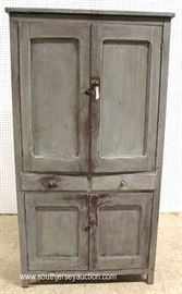 ANTIQUE Pierce Tin Country Pie Safe in the Gray Wash Paint – May be Original  Located Inside – Auction Estimate $300-$600