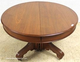 "ANTIQUE 48"" Walnut Victorian Breakfast Table with 1 Leaf  Located Inside – Auction Estimate $200-$400"