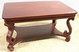 ANTIQUE Mahogany One Drawer Empire Library Table  Located Inside – Auction Estimate $200-$400