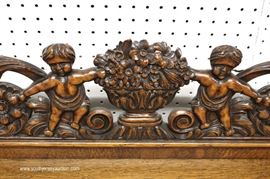 ANTIQUE Oak Buffet with Carved Cherub Back Splash  Located Inside – Auction Estimate $400-$800