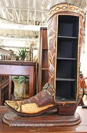 GET YOUR COWBOY ON with this Decorator Cowboy Boot  Petite Bookcase  Located Inside – Auction Estimate $100-$300