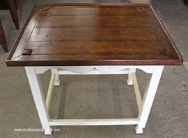 Painted Frame Natural Finish Top End Table with Original Tags  Located Inside – Auction Estimate $100-$300